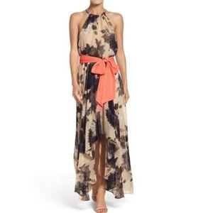 Eliza J Floral Chiffon Halter Maxi Cocktail Dress